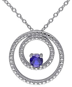 Sterling Silver 13 Ct Blue Sapphire Circle-in-circle Geoetric Pendant Necklace