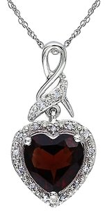 Other Sterling Silver 2.01 Ct Tw Diamond Garnet Heart Love Pendant Necklace W Chain