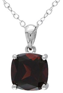 Sterling Silver 2.5 Ct Tw 8 Mm Cushion Garnet Solitaire Pendant With Chain