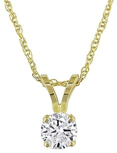 14k Yellow Gold 13 Ct Round Diamond Solitaire Pendant Necklace With Chain I1-i2