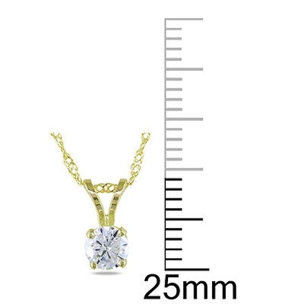 Other 14k Yellow Gold 13 Ct Round Diamond Solitaire Pendant Necklace With Chain I1-i2