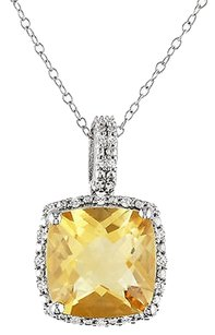 Other Sterling Silver 4.104 Ct Tw Diamond And Citrine Fashion Pendant W Chain Gh I3