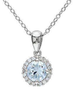 Other Sterling Silver 0.83 Ct Tw Diamond And Aquamarine Pendant W Chain Gh I2i3