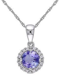 10k White Gold 110 Ct Diamond And 1 Ct Tanzanite Pendant With Chain Gh I2i3