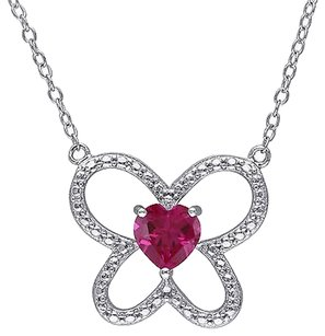 Other Sterling Silver 1 Ct Tgw Ruby Butterfly Nature Heart Love Pendant Necklace