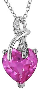 Other Sterling Silver Diamond And 4 15 Ct Pink Sapphire Fashion Pendant Necklace