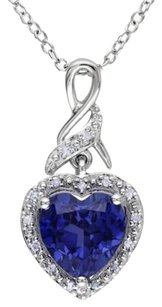 Other Sterling Silver Diamond Blue Sapphire Heart Love Pendant Crossover Necklace