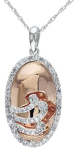 Other 10k Multi-color Gold Diamond Pendant Necklace 0.24 Ct H-i Color I2-i3 Clarity