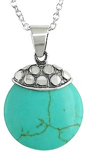 Amour Sterling Silver Turquoise Pendant Necklace 18 Chain