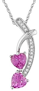10k White Gold Pink Sapphire Diamond Heart Pendant Necklace 1.05 Ct Gh I2-i3 17