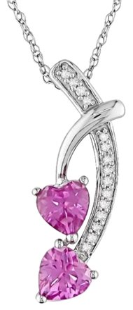 Other 10k White Gold Pink Sapphire Diamond Heart Pendant Necklace 1.05 Ct Gh I2-i3 17