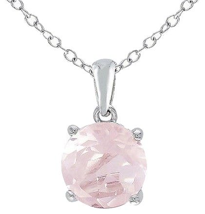 Other Sterling Silver 1.7 Ct Tw 8 Mm Round Rose Quartz Solitaire Pendant With Chain