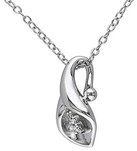 Sterling Silver Diamond Calla Lily Flower Pendant Necklace With Chain Gh I1i2
