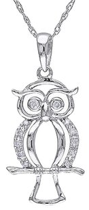 Other 10k White Gold Diamond Fashion Owl Bird Pendant Necklace With Chain Gh I2i3