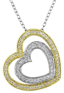 Other Sterling Silver 14 Ct Diamond Heart In Heart Pendant Necklace With Chain Gh I3