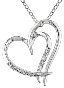 Sterling Silver Diamond Double Heart Love Pendant Necklace With Chain 925
