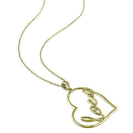 Other Yellow Sterling Silver Diamond Heart Love Pendant Necklace With Chain Gh I3 925