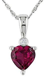 Other 10k White Gold Diamond And 1 Ct Tgw Ruby Love Heart Pendant Necklace Gh I2i3