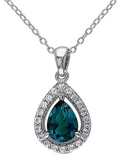 Other Sterling Silver 1 12 Ct Emerald White Sapphire Pendant Necklace With Chain