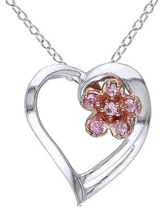 Other Sterling Silver 18 Ct Pink Sapphire Heart Love Pendant Necklace