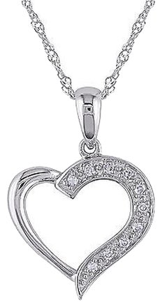 Other 14k White Gold Diamond Heart Love Pendant Necklace Gh I1i2