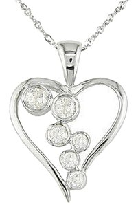 Other 14k White Gold 14 Ct Diamond Tw Heart Love Pendant Necklace Gh I2i3