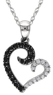 Other 10k White Gold 14 Ct Black White Diamond Love Heart Pendant With Chain Gh I2i3