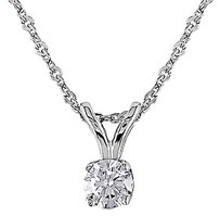Other 14k White Gold Round 16 Ct Diamond Solitaire Pendant I1-i2