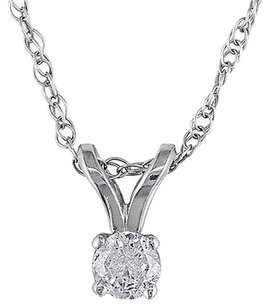 Other 14k White Gold 110 Ct Diamond Pendant Necklace H-i-j I2-i3 Chain