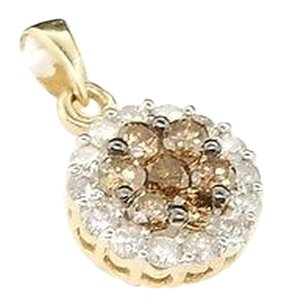 Brown Diamond Flower Pendant Ladies 14k Yellow Gold Round Charm 1.00 Tcw.
