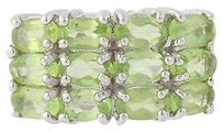 Other Peridot Cluster Ring - Sterling Silver Green Gemstone Birthstone 3ctw