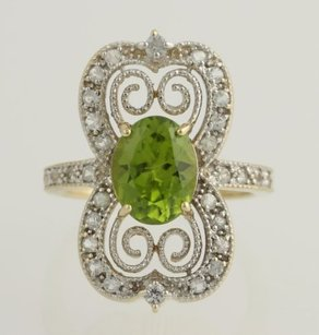 Other Peridot White Topaz Cocktail Ring-14k Yellow White Gold August Fine 4.25ctw
