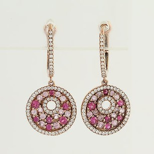 Other Pink Sapphire Diamond Drop Earrings - 14k Rose Gold Pierced 1.39ctw