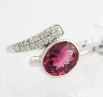 Other Pink Tourmaline Diamond Ring - 10k White Gold Womens 2.19ct Bypass Fine