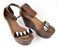 Vic Matie Leather Wedge Brown Sandals