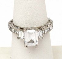 Platinum 1.15ctw Princess Round Emerald Cut Diamond Solitaire Mounting Ring
