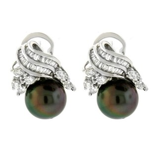 Other Platinum Diamond And Black Pearl Earrings