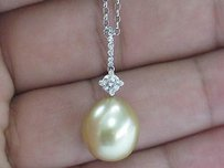 Platinum Golden Pearl Diamond Pendant Necklace .30ct 13mm
