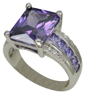 Other Platinum Plated 7ct Purple Cubic Zirconia Ring