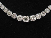 Platinum Round Cut Diamond Riviera Necklace 16.75 G-hvs1-si1 27.29ct Egl