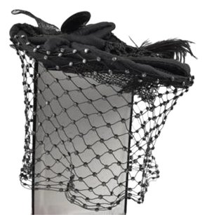 Other Ports 1961 Black Crystal Net Cocktail Evening Headdress Hat