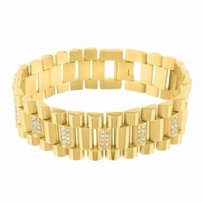 Presidential Bracelet Watch Band Simulated Diamond Gold Finish Stainless Steel