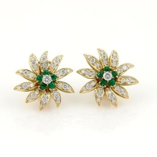 Queen 18k Yellow Gold 2.12ct Diamonds Emerald Flower Stud Earrings