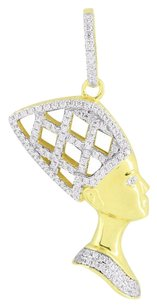 Queen Nefertiti Egyptian Pendant Gold Over Sterling Silver Simulated Diamonds
