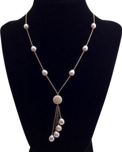 Qvc Copper Plated Sterling Light Pink Pearl Station Drop Necklace 16