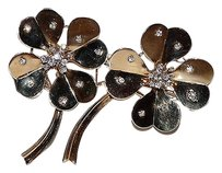 Retro Mauboussin 18kt Rose Gold Diamond Clover Double Pin Brooch