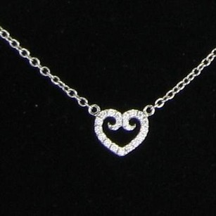 Other Rhonda Faber Green Holder Heart Pendant 0.12cts Diamonds 18k Wt Gold