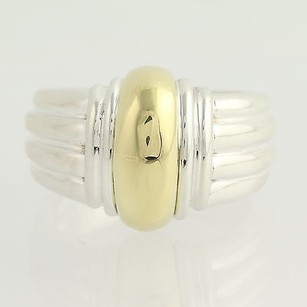 Ribbed Statement Ring - Sterling Silver 18k Yellow Gold Womens
