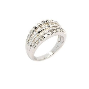 Ring 14k White Gold 1 Ct Baguette Shape Diamond J Si1 5.6 Grams