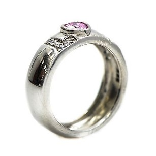 Ring Sterling Silver Love Style With Pink Heart Stone 4.6 Grams
